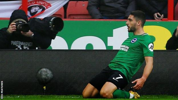Brighton forward Neal Maupay celebrates scoring against Sheffield United