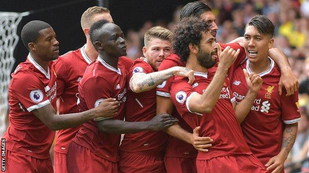 Liverpool's Mohamed Salah (second right) is mobbed after scoring against Watford in August