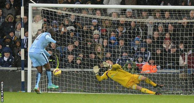 Yaya Toure scores a penalty in City's win over West Brom on Boxing Day 2014