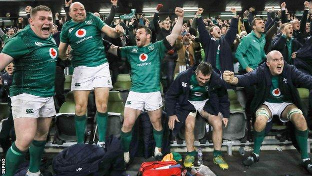 Tadhg Furlong, Rory Best, Cian Healy, Peter O'Mahony and Devin Toner show their delight after the final whistle in Dublin
