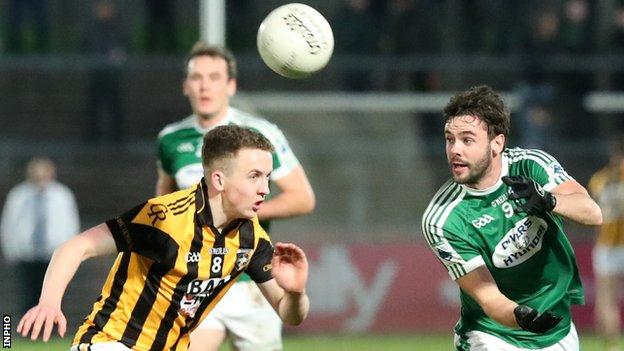 Gweedore's Odhran MacNiallais tries to win the ball ahead of Crossmaglen's Stephen Morris
