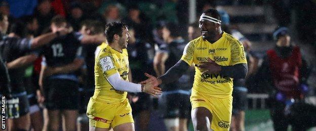 La Rochelle celebrate against Glasgow