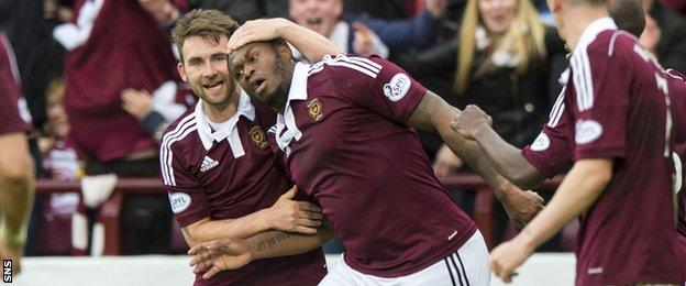 James Keatings (left) celebrates with Hearts