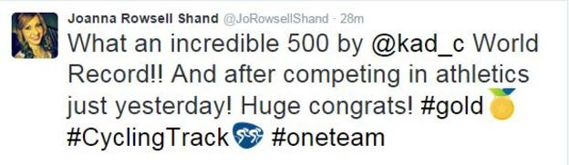 A tweet from cyclist Joanna Rowsell Shand, who won gold in the team pursuit at the Rio Olympics