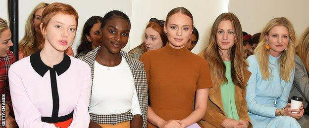 Asher-Smith joined actress Laura Haddock (centre) on the front row of a show at London Fashion Week