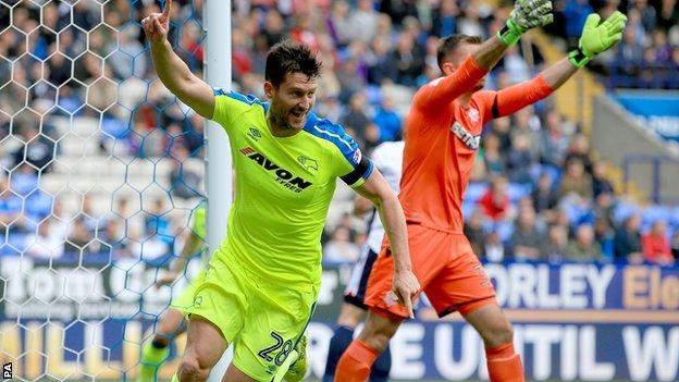 Derby County's David Nugent celebrates goal