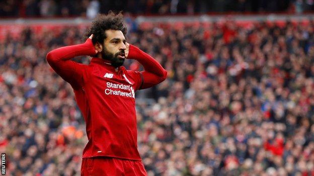 Mohamed Salah celebrates his goal against Chelsea