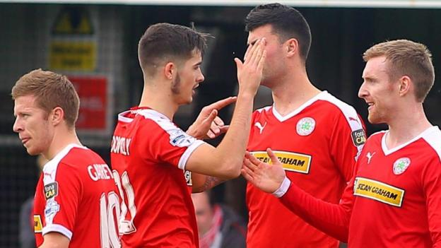 Cliftonville celebrate Chris Curran's goal which gave the Belfast side a 1-0 win away to Dungannon Swifts