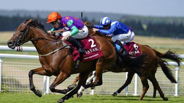 Kieran Shoemark riding Lady Bowthorpe win The Qatar Nassau Stakes