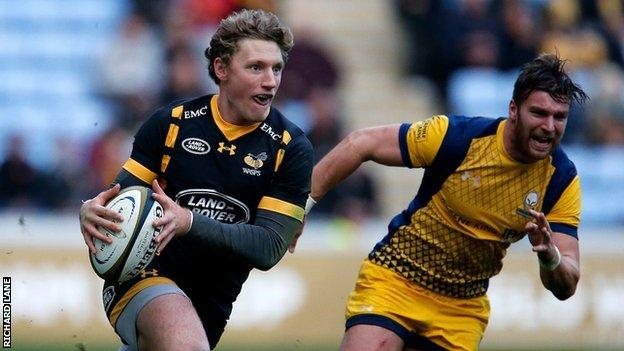 Wasps winger Tom Howe has scored two tries for the club, one of which came against Warriors in the Anglo-Welsh Cup tie at the Ricoh Arena in November