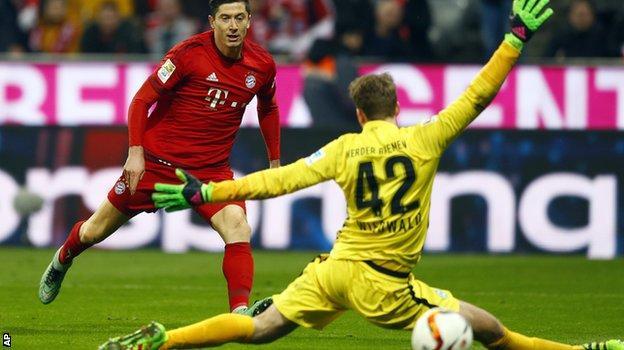 Robert Lewandowski scores for Bayern Munich