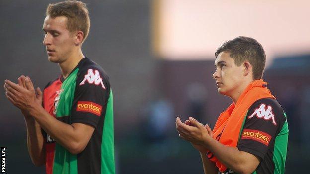 Glentoran lost to MSK Zilina in the Europa League