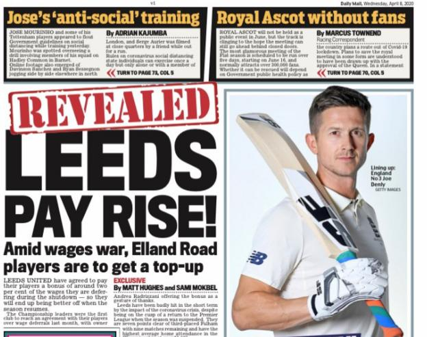 The Mail leads on news Leeds could pay their players a bonus for deferring wages