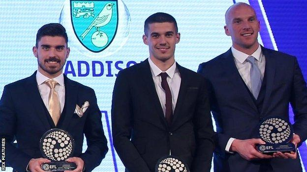 Wolves trio Ruben Neves, Conor Coady and keeper John Ruddy (right)were all in the EFL Championship team of the season