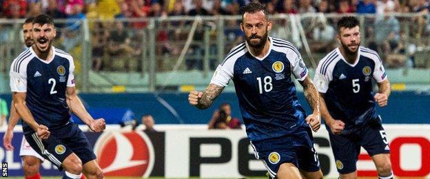 Steven Fletcher scores against Malta