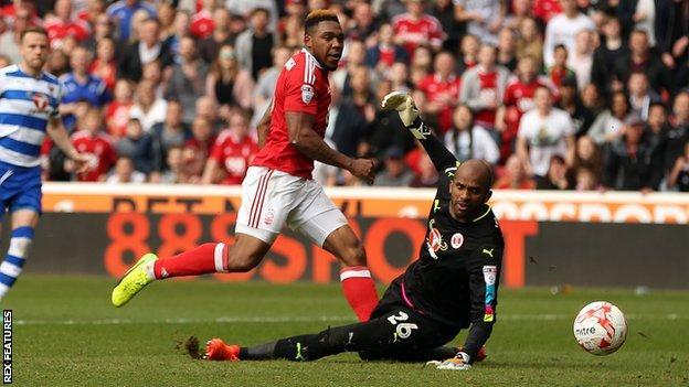 Britt Assombalonga scores his first goal against Reading