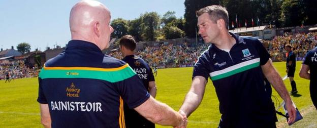 Declan Bonner (left) managed Donegal to a 12-point victory over Fermanagh in the 2018 Ulster final