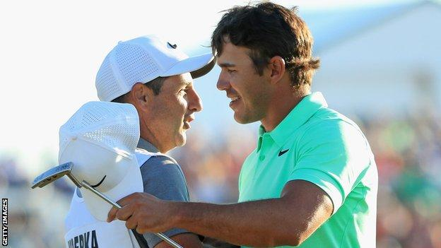 Ricky Elliott with Koepka after the American's US Open triumph in 2017