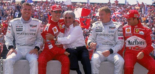 David Coulthard, Michael Schumacher, Bernie Ecclestone, Mika Hakkinen and Rubens Barrichello