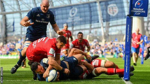 Leinster wing James Lowe scores the game's opening try
