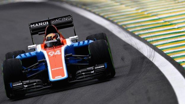 Pascal Wehrlein driving a Manor Racing car.