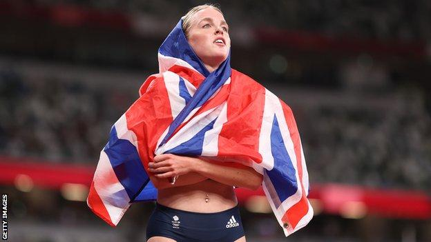 Keely Hodgkinson wrapped in a Union Jack flag