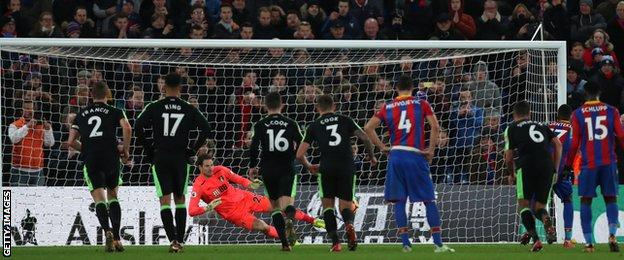 Christian Benteke's penalty is saved by Asmir Begovic as Luka Milivojevic (number four) looks on