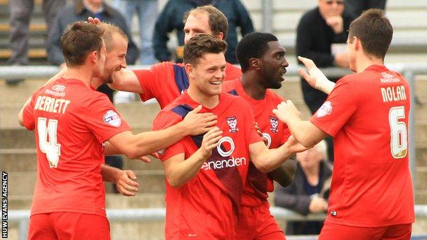 York celebrate Reece Thompson's goal