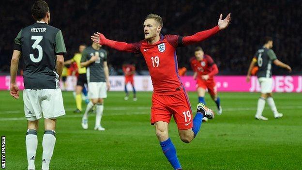 Jamie Vardy celebrates scoring for England against Germany in Berlin