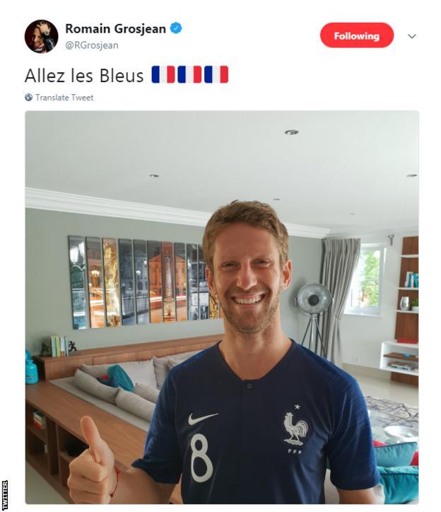 Romain Grosjean cheers on France in the World Cup final against Croatia