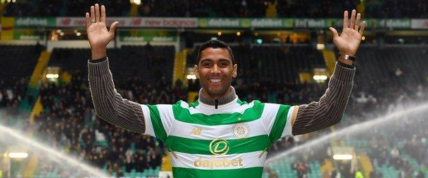 New signing Marvin Compper is paraded before the Celtic Park crowd