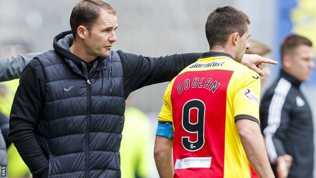 Partick Thistle boss Alan Archibald issues instructions to Kris Doolan