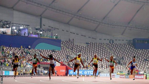 Women's 100m final in Doha