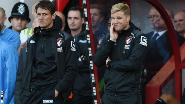 Bournemouth assistant manager Jason Tindall and manager Eddie Howe