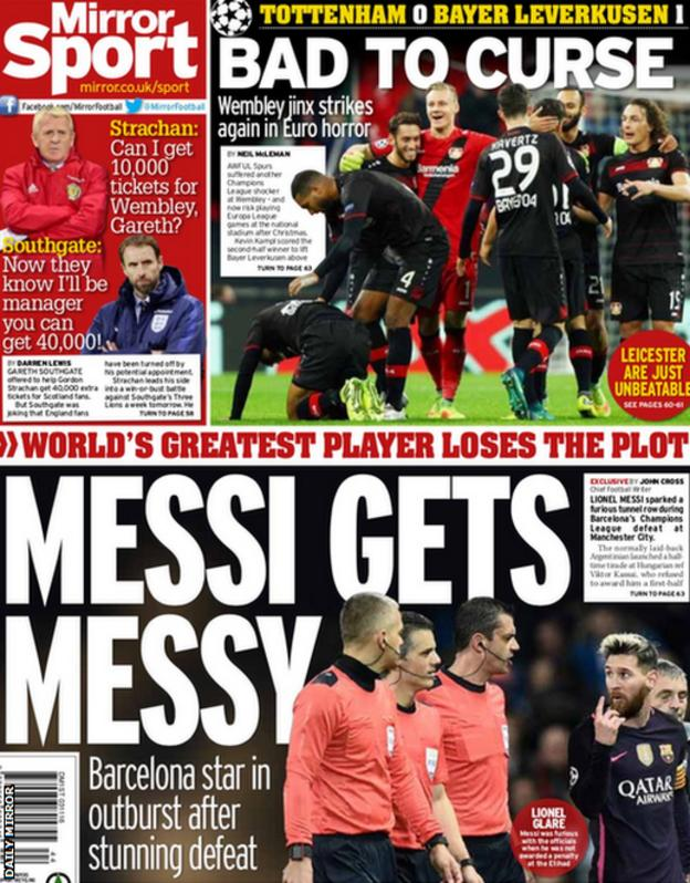 The back page of Thursday's Daily Mirror