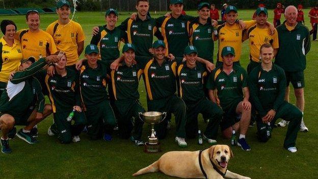 Guernsey celebrate beating Jersey