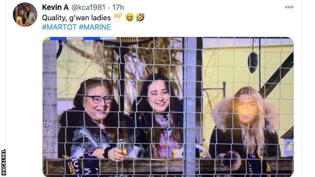 Three women watch Marine AFC