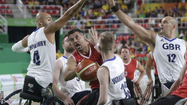 Great Britain wheelchair basketballers playing Turkey in their thrilling bronze medal match