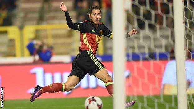 Eden Hazard score for Belgium against Bosnia & Herzegovina