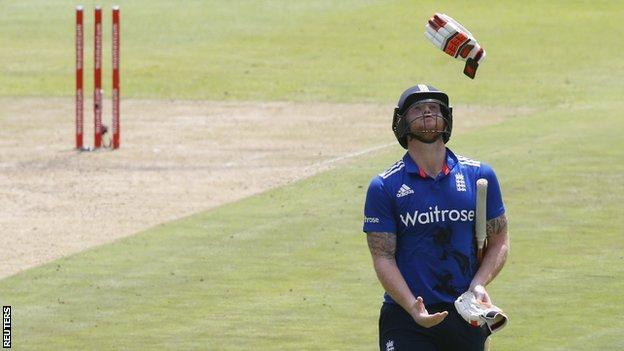 Ben Stokes looks disappointed after losing his wicket