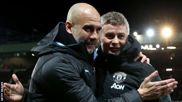 Man City boss Pep Guardiola and Man Utd manager Ole Gunnar Solskjaer
