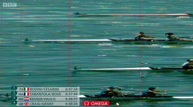 The four crews in the lightweight women's double sculls were separated by just half a second