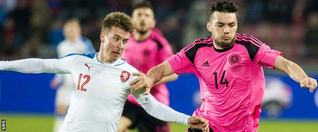 Scotland's Tony Watt battles for the ball against Czech Republic's Martin Frydek