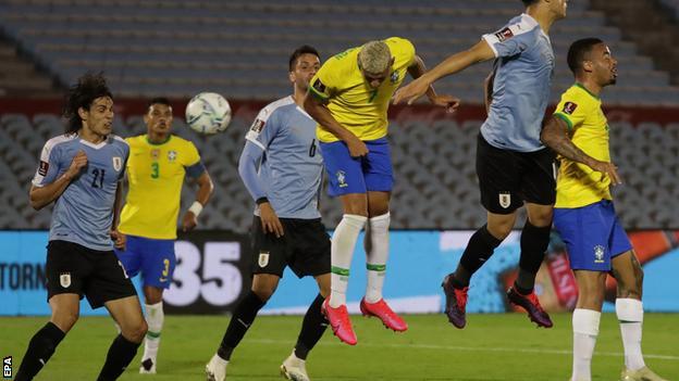 Richarlison heads in Brazil's second goal