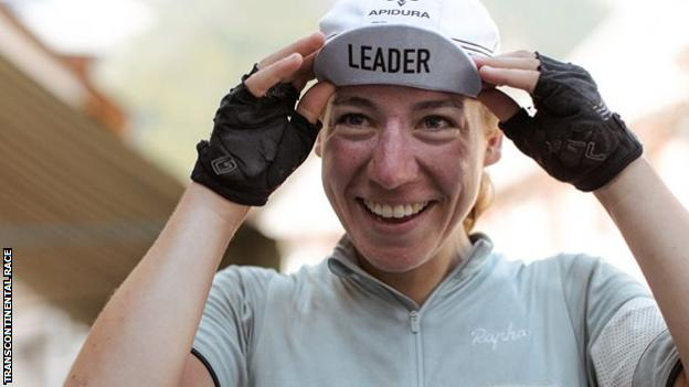 Fiona Kolbinger and her leader's cap from the race