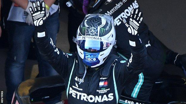 Valtteri Bottas celebrates winning the Russian Grand Prix