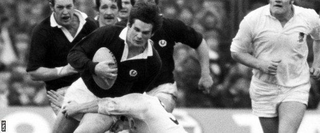 John Beattie playing for Scotland against England in 1980