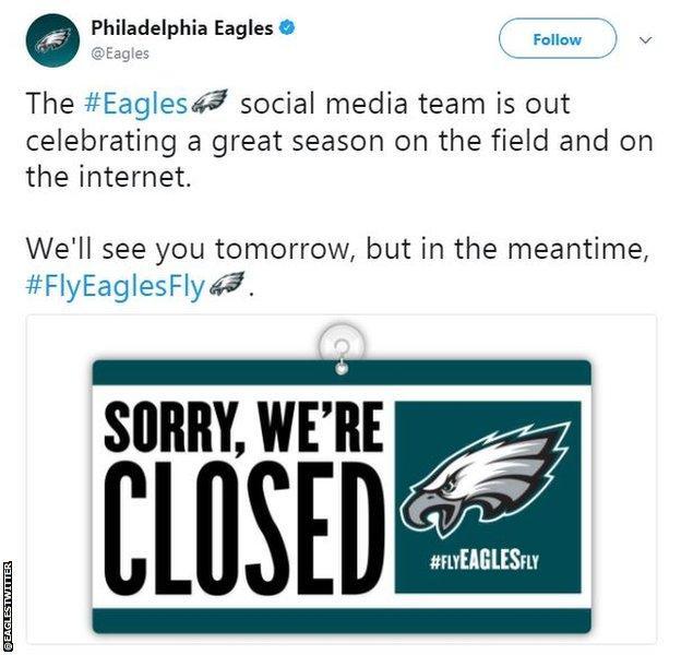 Philadelphia Eagles social media team post a message