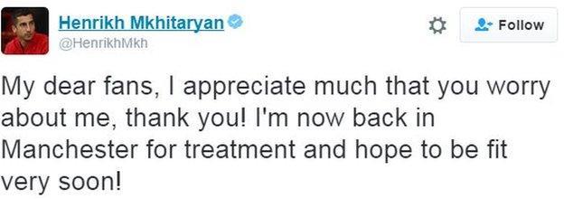Henrikh Mkhitaryan tweet