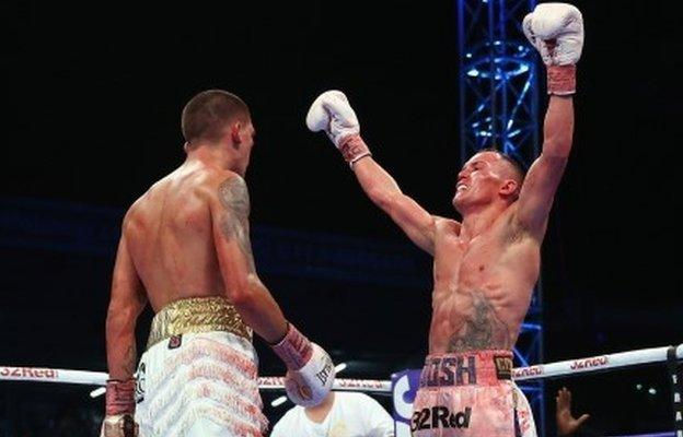 Josh Warrington celebrates victory over Lee Selby
